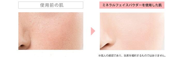 使用前の肌と、ミネラルフェイスパウダー使用後の肌の比較